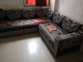 Sofa Set Condition Like New - Black & Grey / 6 Seater