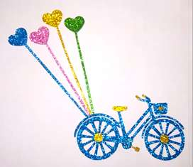 blue bicycle wall decoration