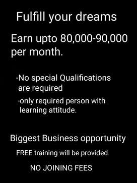 Biggest business opportunity with FREE training with NO joining FEES
