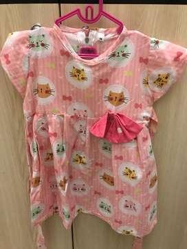Dress anak pinky meow size M