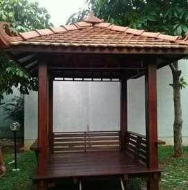 Gazebo minimalis kayu jati 2x2m