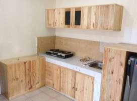 Kitchen Set Lemari Dapur Kayu Jati Belanda Pinus Mewah dan Murah