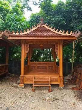 Gazebo kayu jati ukir ukuran 2x2m