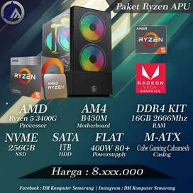 PC Gaming Onboard Ryzen 5 3400G VGA RX Vega 11 SSD Nvme 256GB Ready