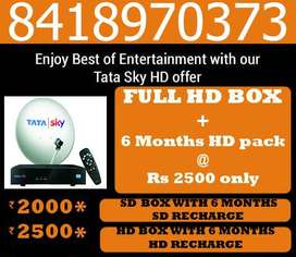 TATA SKY SD BOX+6 MONTHS SMART PACK@Rs 2000-DISH TV TATASKY AIRTEL D2H