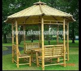 saung bambu dan kayu kelapa dn jati