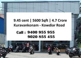 9.45 Cent |  5600 Sqft  |  4.7 Crore |   Kuravankonam - Kowdiar Road