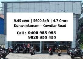 9.45 Cent |  5600 Sqft  |  4.7 Crore |   Kuravankonam - Kowdiar Road
