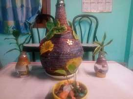 Flower pot with LUCKY BAMBOO/MONEY PLANT/Other Lucky Flowers available