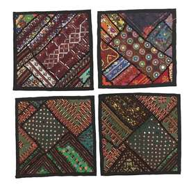 Traditional Embroidery Multicolor Fancy Floor Cusion Covers - Set of 4