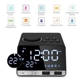 Inlife Jam Meja Bluetooth Speaker Alarm Clock FM Radio Dual USB Charge
