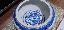 Guci dupa cina biru putih ukuran jumbo antik