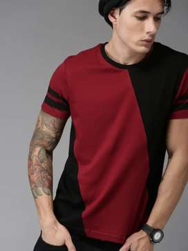 Moda Rapido Men Maroon & Black Colourblocked Round Neck T-shirt