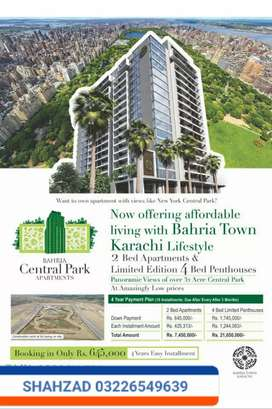 2 BED CENTRAL PARK APARTMENT BOOKING START BAHRIA KARACHI 4 YEARS PLAN