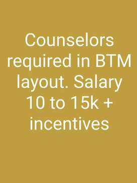 Telecallers and counsellors required in btm layout and Marathahalli