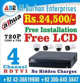 CCTV 4 Camera Full HD With ( FREE LCD )Full Package(NO HIDDEN Charges)