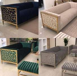 new design sofa set with one center table and one sitting bench