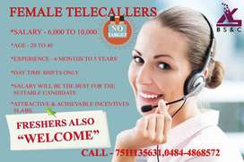 FEMALE TELECALLERS REQUIRED (NO TARGET)