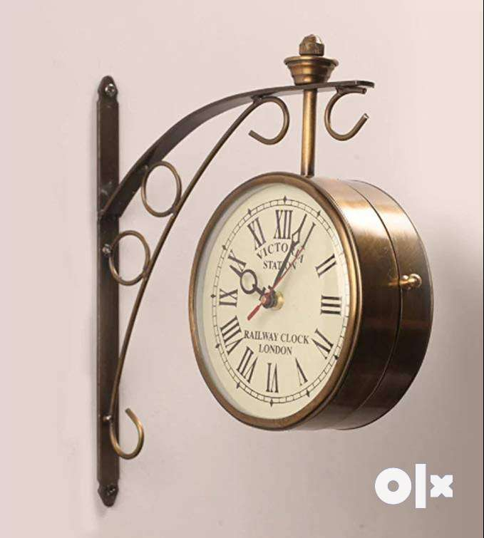 Brass Victoria Station Clock Double Side Vintage Wall Clock 10 Inch 0