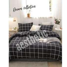 Bedcover AESTHETIC KOREA kotak hitam+kotak putih bahan katun Premium