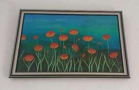 DIJUAL CRPAT! Hiasan dinding lukisan bunga + figura