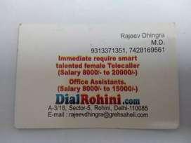 Urgent Required Female Telecaller
