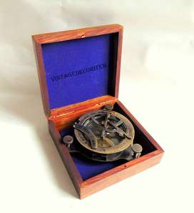 Antique Style Brass sundial compass with wooden box size 4 inches