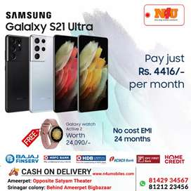 Samsung galaxy S21 ultra now avl 24 months nocost Emi smart watch free