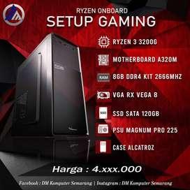 PC Gaming Onboard Ryzen 3 3200G VGA RX Vega 8 SSD 120GB Ready