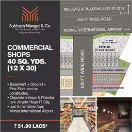 At Mohali Commercial Shop 51.90 lac Basment Ground First can construct
