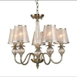 Lampu hias chandelier emely 5L antiqbrass