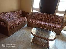 Cane Sofa with table