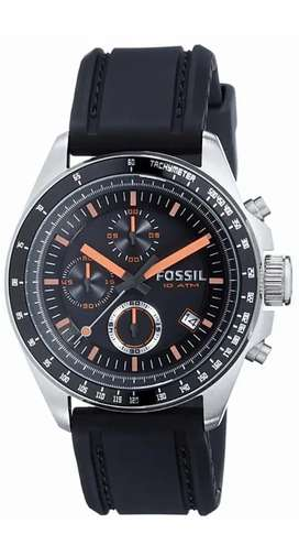 Fossil Men's Black Silicone Strap Black Analog Dial Chronograph Watch