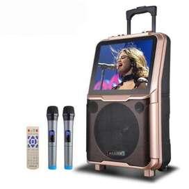 Audio Video Mobile Portable Bluetooth Trolley Speaker K-Karaoke with D