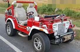 Red with white  combination modified jeep