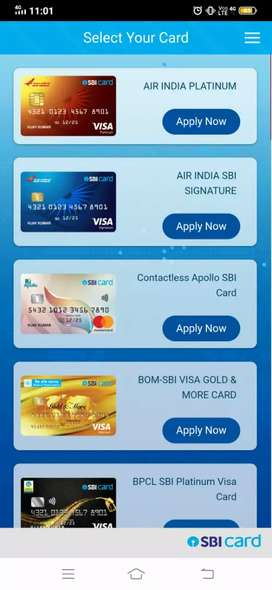 Need sales executives for credit cards
