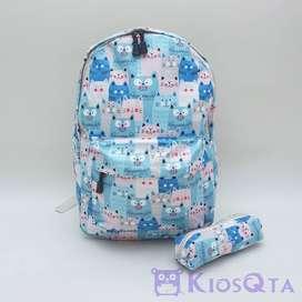 tas ransel laptop motif kucing bonus tempat pensil