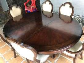 Meja makan bentuk oval termasuk 6 bangku kayu jati