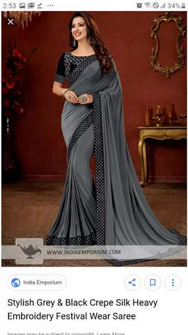 Grey and black velvet designer saree