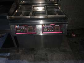 Hot plate plus lining grill plate and dual basket deep fryer