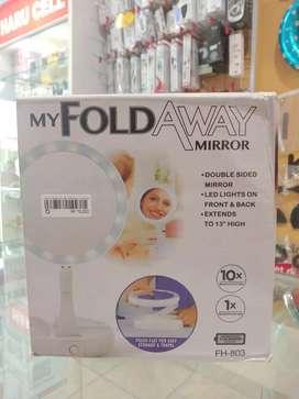 Cermin Make up fold away + lampu (Haru Cell)