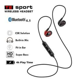 Deep Bass Headset Bluetooth High Value Sport Wireless Earphone T2