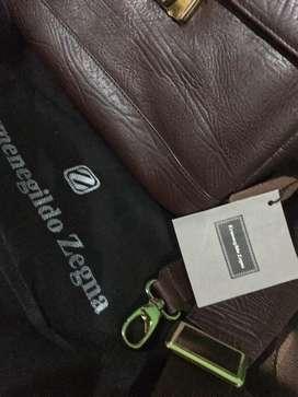 Tas kulit asli baru merk Ermenegildo zegna + bisa lock angka