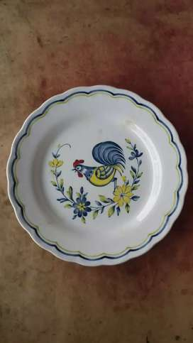 Piring antik gambar ayam