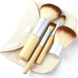 Kuas Make Up Brush Bambu 4 Set - MAG5166 - Brown/White