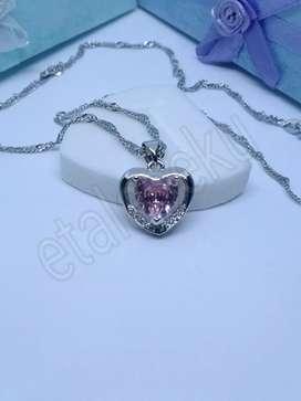Kalung wanita silver love pink heart