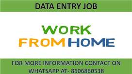 Job at home based work Part time job of Data entry typing work