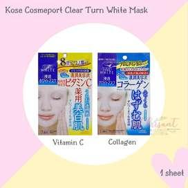Masker jepang 1pc Kose Cosmeport Clear Turn White Mask Vit c /Collagen