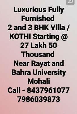2&3 BHk villa in Mohali near Rayat and Bahara University