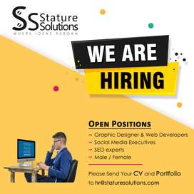 Web Developer,SEO Experts,Web Designers,Social Media Executive needed